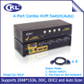 CKL-84UP USB2.0 PS/2 Combo 4 Port KVM Switch with Cable Max Resolution 2048*1536 Switcher for Keyboard Video Mouse