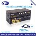 CKL-84UP USB2.0 PS/2 Combo 4 Portas KVM Switch com Cabo Resolução Máxima 2048*1536 Switcher para Teclado vídeo Rato