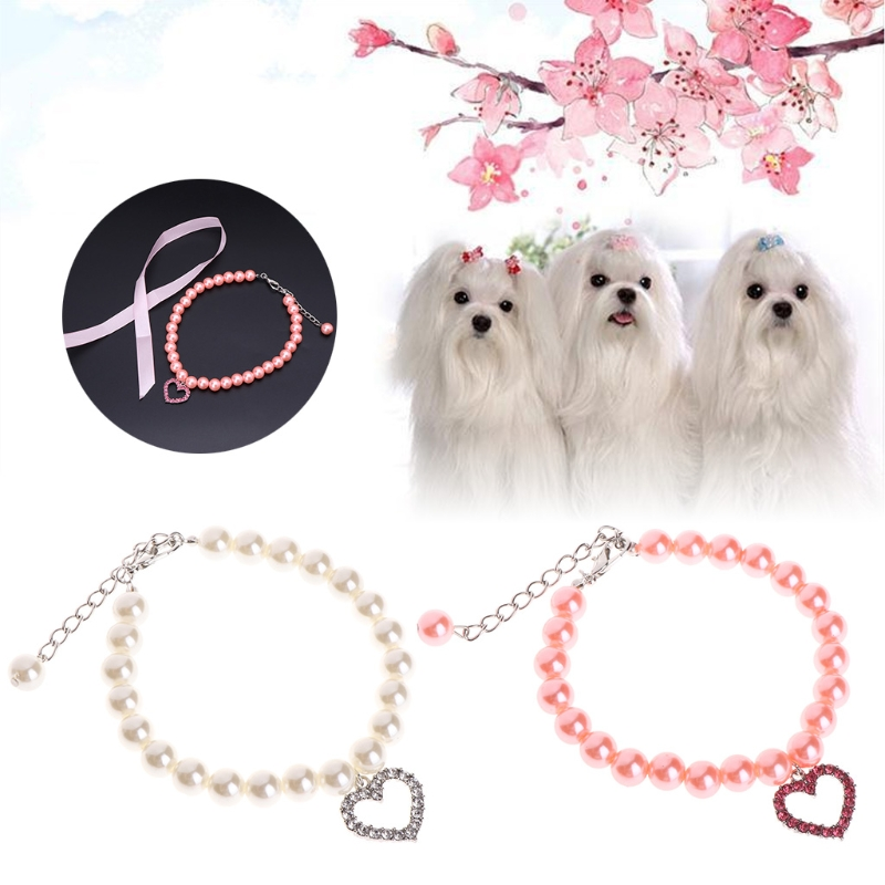 Pet Collar Pearl Necklace Dog Puppy Cat Bowknot Custom Adjustable Identification