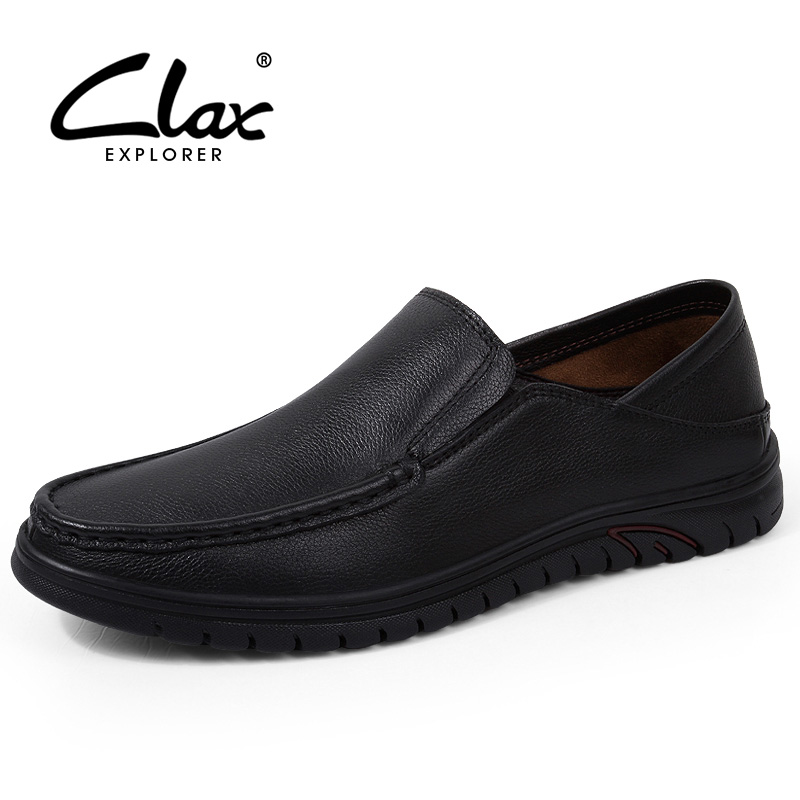 CLAX Men Leather Shoes Slip ons 2018 Summer Breathable Loafers Male Genuine Leather Casual Footwear Fashion Leisure Shoe clax men s casual shoes fashion leisure shoe 2018 spring summer men leather footwear breathable handmade loafers sewing sole