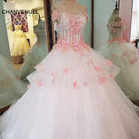 LS63675 pink flowers wedding dress ball gown lace up back short sleeves beading long dresses for wedding party 2017 real photos