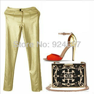 Free shipping 2013 Sexy Ladies  Leggings Fashion Pants  women high-grade gold slinky silver stretch pants, elastic pants,