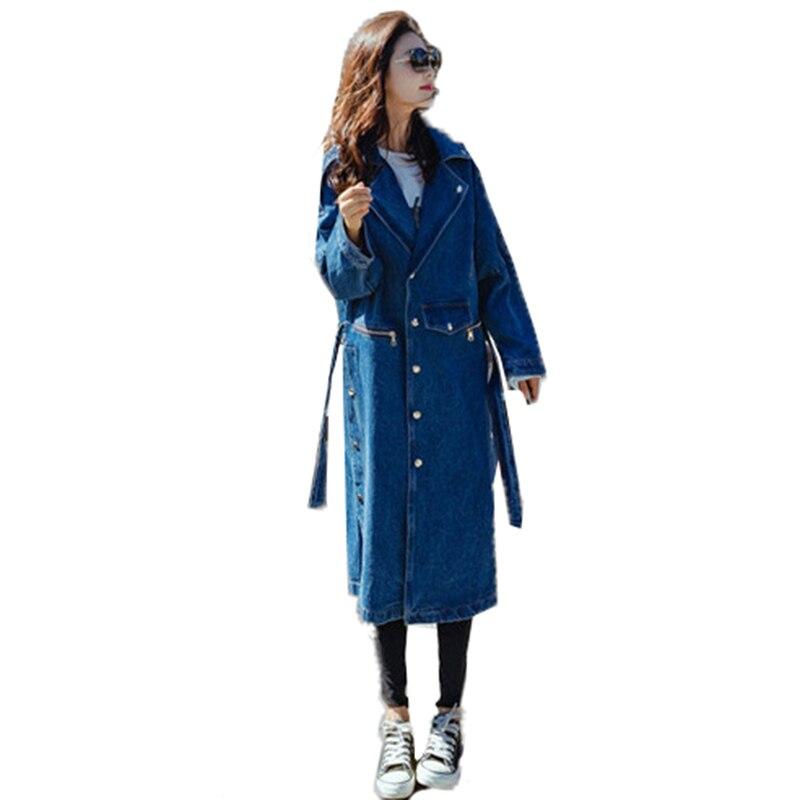 Mode Lâche 2018 Printemps vent Manteau Casual Rue La Denim Vintage Poches Féminine Blue Taille De Coupe Tranchée Longue Plus Femmes qtOrdxwt