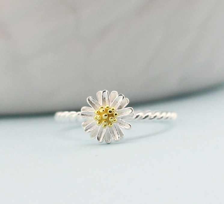 Hàng Mới Về mạ bạc Nhẫn Nữ HOa Cúc Nhẫn cưới Cúc đính hôn trang sức Có Thể Điều Chỉnh kích thước dropshipping