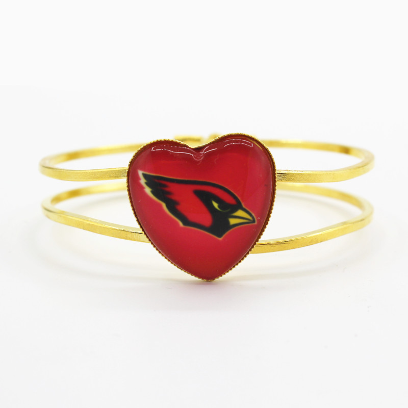Hot sale Arizona Cardinals football team charms alloy heart bracelet 6pcs/lot bracelets jewelry fit sports fan best gift