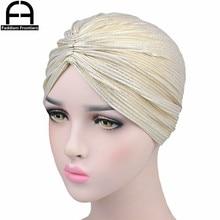 Summer Women Shiny Silk Turban Twist Winkle Hair Cover Bandanas Headwear Headband Accessories Turbante