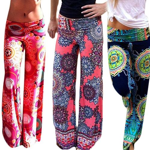 Women's Summer Floral Pants Casual High Waist Flare Wide Leg Long Trousers