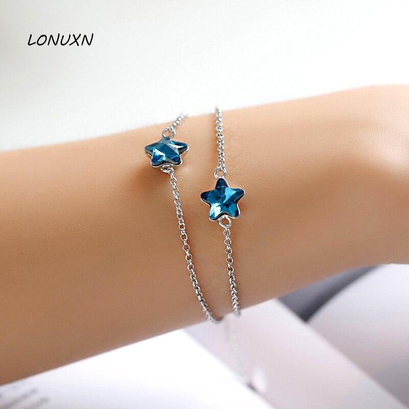 15 + 4 cm lady Oriharcon bijoux importés autriche étoiles bleu cristal 925 bracelet en argent Sterling femme mode étoiles de mer Bracelets