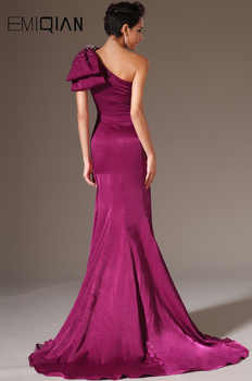 New Stylish One Shoulder Evening Gown Evening Dresses Burgundy