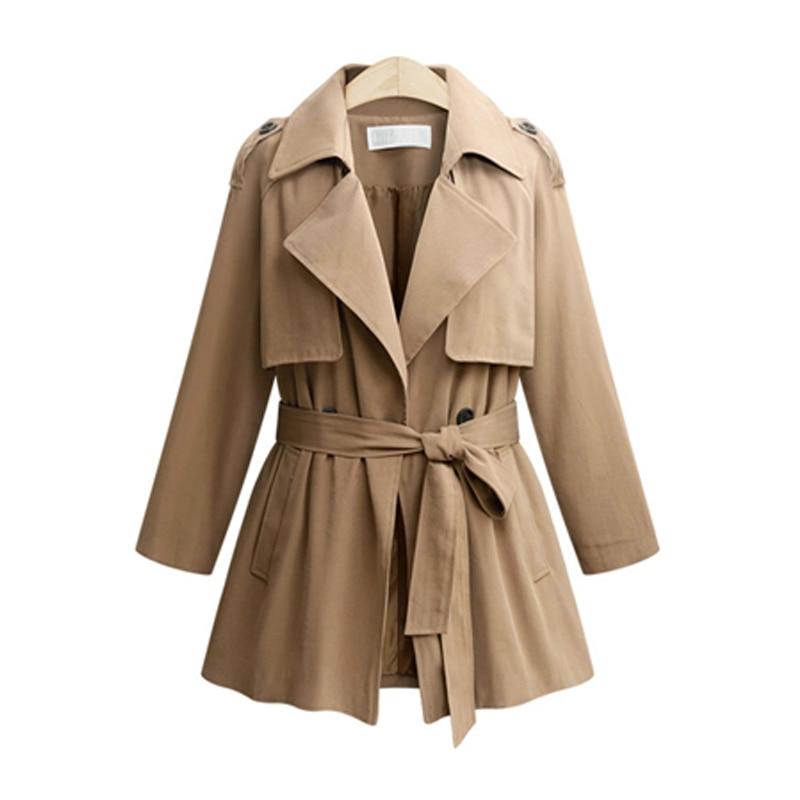 European Style 2018 Autumn Winter Women   Trench   Coats Fashion Sashes Ladies Windbreaker Plus Size XL- 5XL Solid Color Outerwear