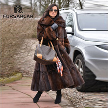 FURSARCAR 2018 New Arrival Luxury Natural Mink Fur Coat Women With Big Turn-down Collar 120 CM Long Real Female