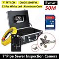"Free shipping!EYOYO 50M Sewer Pipe Waterproof Video Camera 7"" Screen Drain Pipe Inspection DVR"