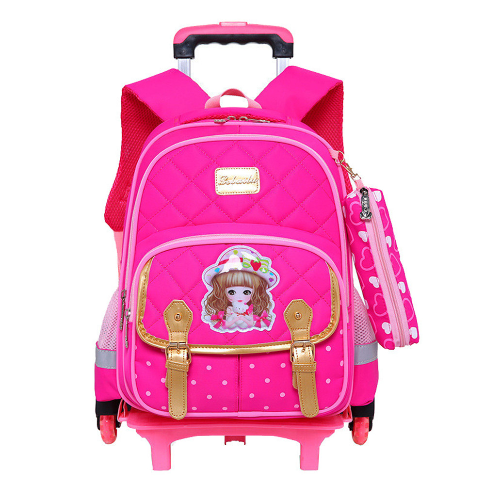 Removable Children School Bags with 3 Wheels Child Trolley Backpack Kids Wheeled Bags for Boys Girls Waterproof Bookbag