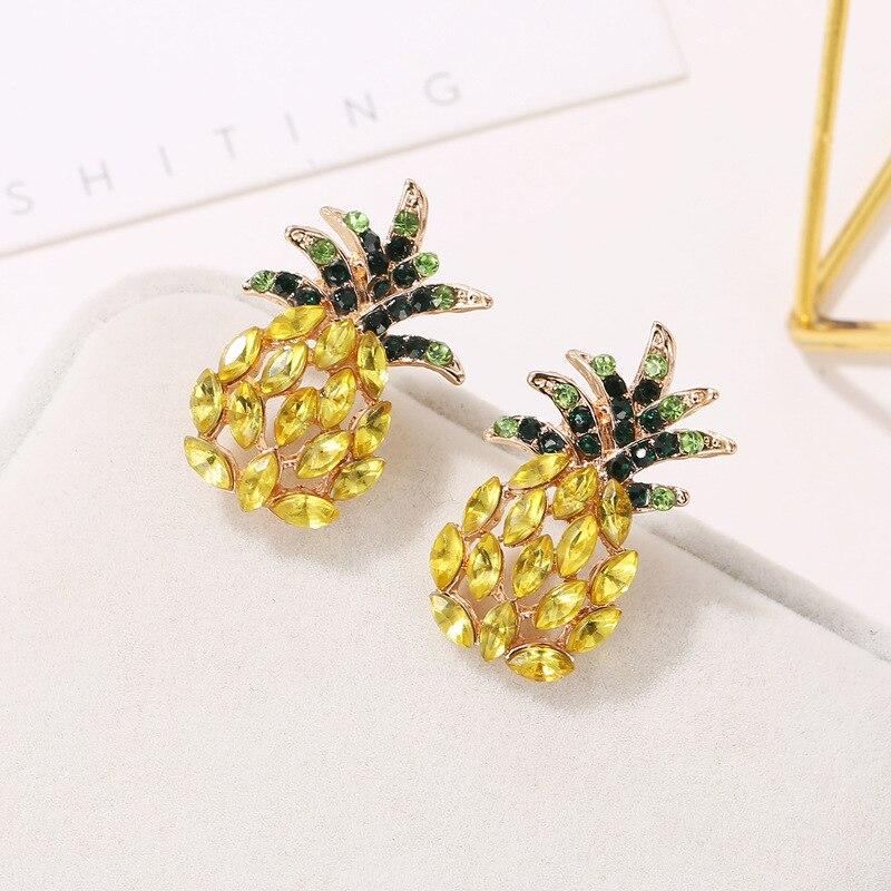Bohême Géométrique Strass /& Cristal fruit ananas Perçage Dangle Earrings