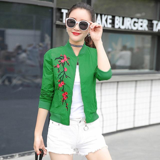 women basic coats 2018 spring summer fashion cropped embroidery bomber jacket ladies thin cropped baseball jackets bombers 4