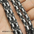 Fashion 2 Tone, Silver Black Male Stainless Steel Chain Necklaces Byzantine Style Mens Jewellery, Wholesale Free Shipping KN015A