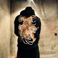 Hot Men Sweatshirt Tiger Sukajan Hoodie Japanese Embroidered Hooded Short Jacket D11
