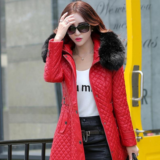 autumn and winter PU water washed leather clothing female medium-long plus size female slim trench outerwear plus cotton 2