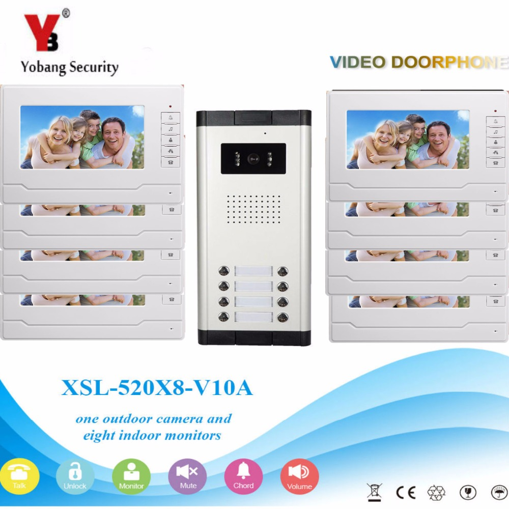 YobangSecurity Video Intercom 7Inch Wired Video Door Phone Doorbell Intercom Monitor Camera Bell System For 8 Units Apartment yobangsecurity 8 unit apartment video intercom wired 7 inch color hd video phone doorbell intercom access system 8 monitor
