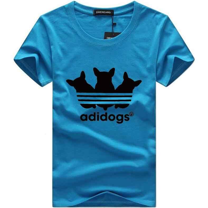Summer funny t shirts Adidogs print Men Tshirts O neck Short sleeve Men's T Shirt Casual For boys Male T-shirt tops size 5XL