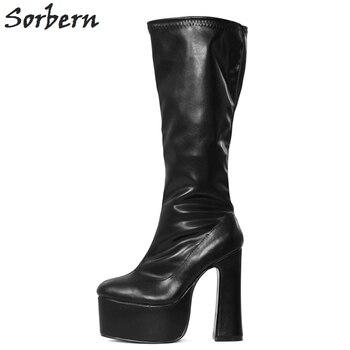 ce4773cf9 Sorbern Fosco Na Altura Do Joelho Mulheres Altas Botas de Salto Bloco  Sapatos de Plataforma Senhoras Saltos Longos Botas Mulheres Tamanho 8 Além  de Botas de ...