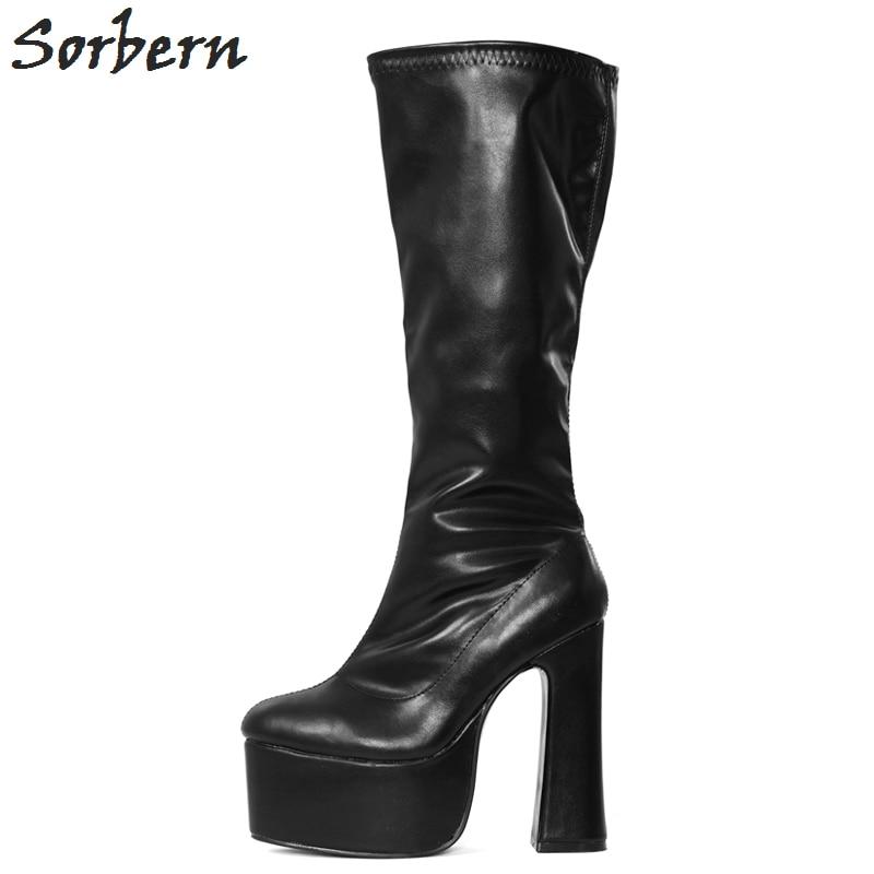 Mujer Zapatos Botas 8 Sorbern Nuevo Tamaño Color custom Largo Plus Tacones De Plataforma Mate 2019 Damas Alta Rodilla Negro Mujeres X00ntSOA