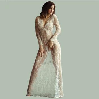цена на White Long nightgown Ladies Sexy Lace Sleepwear Nightdress Babydolls See through lingerie sleeping dress plus size