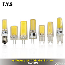 6pcs G4 G9 LED Lamp AC 220V COB E14 LED Bulb 9W 6W COB Light Energy Saving Lamp 360 Beam Angle Chandelier Lights Replace Halogen(China)