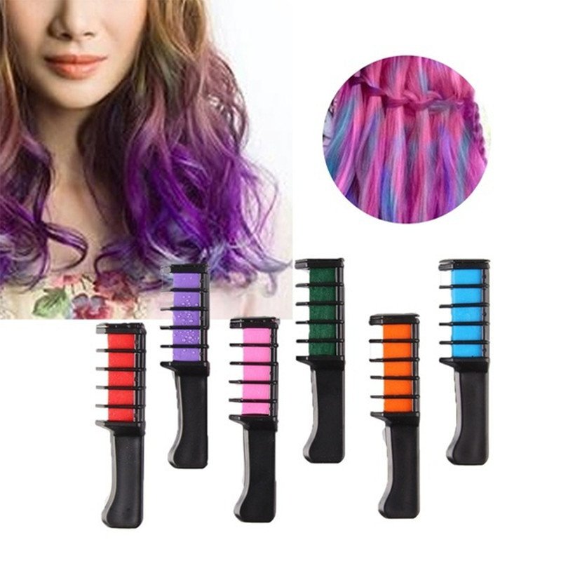 Temporary Hair Pro Mini Chalks Crayons 6 Colors For For Hair Multicolor Color Dye Hair Dye Comb Hair Care Styling Tools