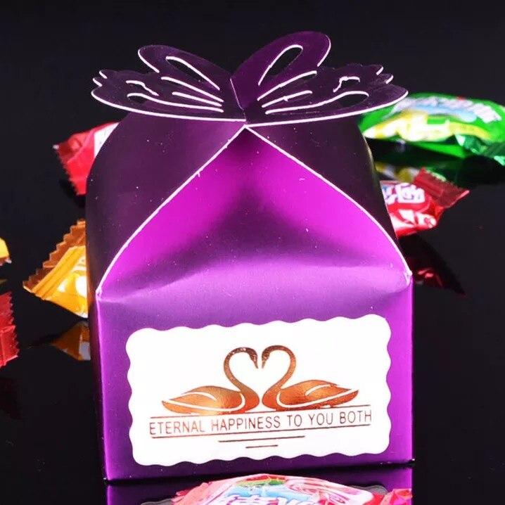 Livraison Gratuite 100 pcs Papillon Faveur De Mariage De Sucrerie Boîtes Cadeau Bonbonnière Bébé Shower Party Pourpre dans Cadeau Sacs et Emballage Fournitures de Maison & Jardin