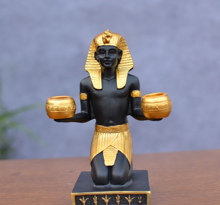 Decorative candle holder classic egyptian pharaoh figurine for Decoration maison aliexpress