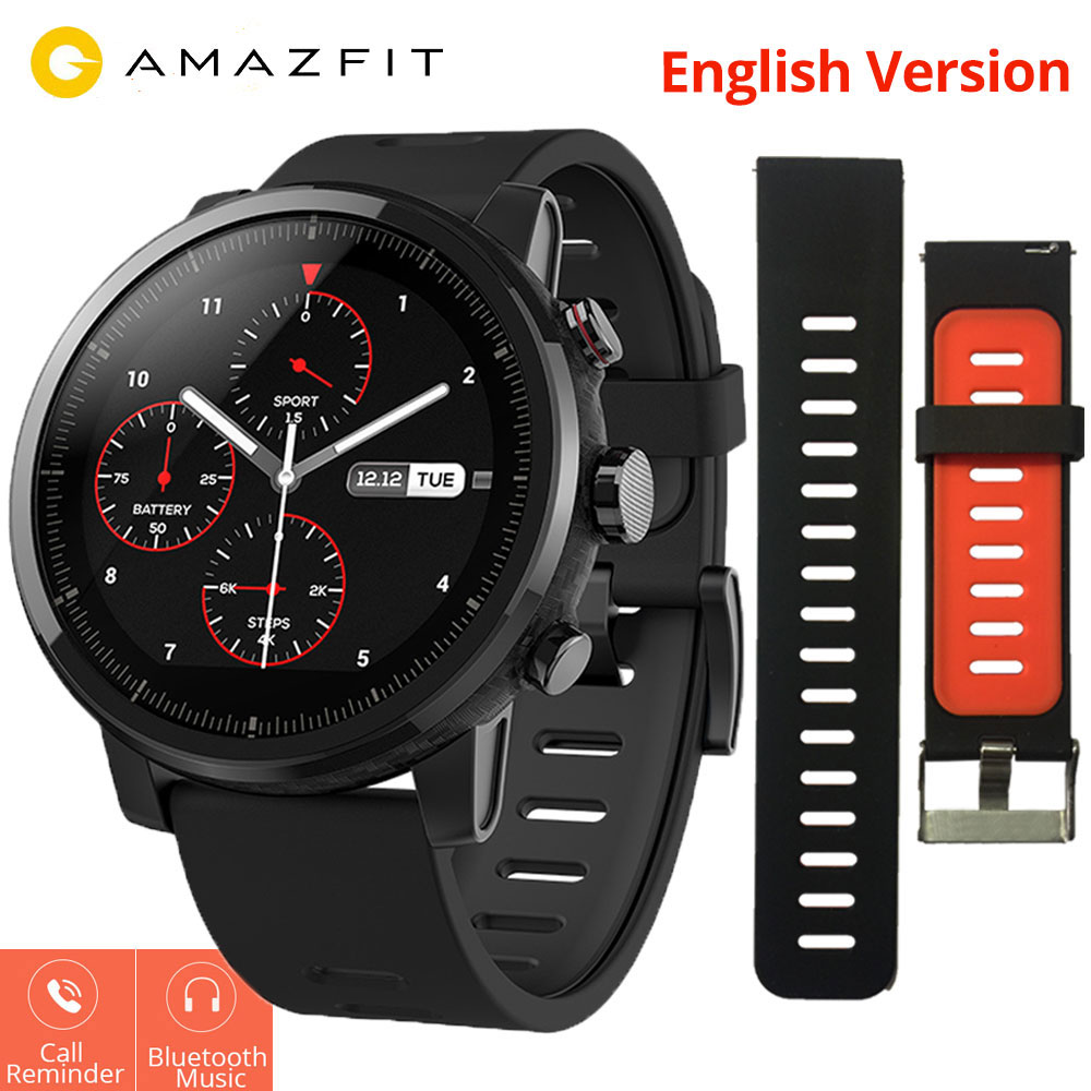 nuevo concepto 116e3 f8d80 US $159.99 |Xiaomi Mi Huami Amazfit Smart Watch Stratos 2 English Version  Sports Smartwatch With GPS PPG Heart Rate Monitor 5ATM Waterproof-in Smart  ...