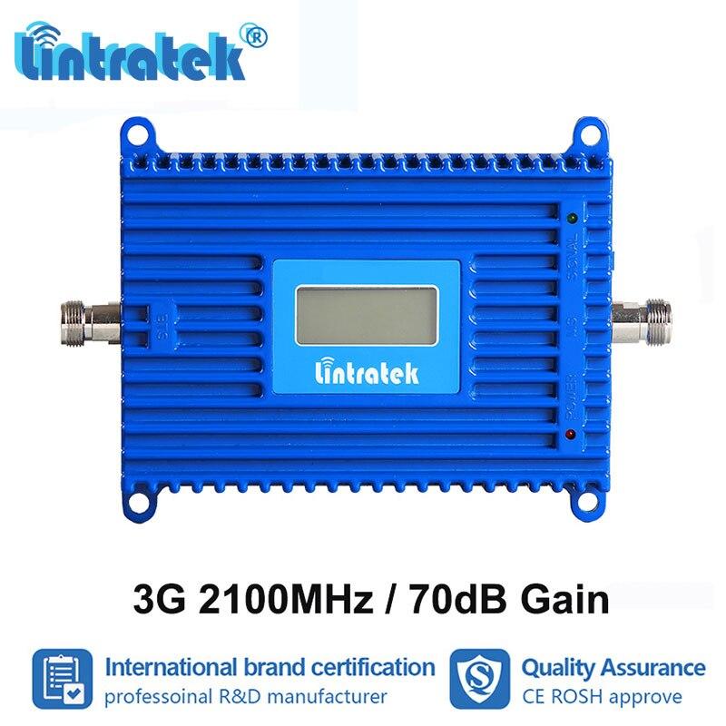 Lintratek 70dB Gain 3G WCDMA 2100 MHz amplificateur de Signal de téléphone portable UMTS 2100 répéteur 2100 amplificateur de données 3G données Internet S8