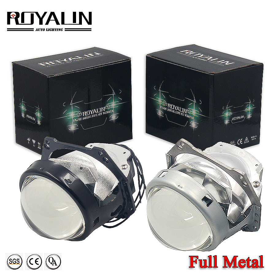 ROYALIN Car Bi LED 3.0 Inch Projector Lens Universal LED Headlights High Low Beam Auto Headlamps Retrofits Styling