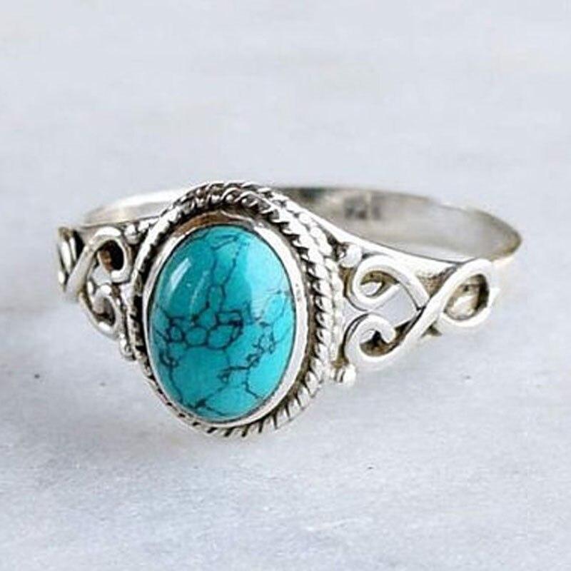 Anillos de piedras azules Boho para mujer hombre boda anillo de joyería Bohemia anillo de Color plata antiguo Bague Femme Masculino Anillos Z3N336