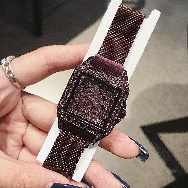 2019 luxus Marke dame Kristall Uhr Frauen Kleid Uhr Mode Rose Gold Quarz Uhr Weibliche Edelstahl Lila Armbanduhren-in Damenuhren aus Uhren bei  Gruppe 2