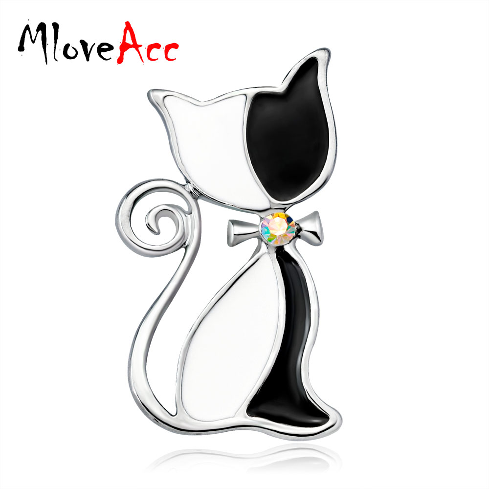 MloveAcc Cute Enamel Cat Wear Tie Brooches for Women Men Kids Suit Broach Gold Color Broches Femmes Hijab Scarf Accessories