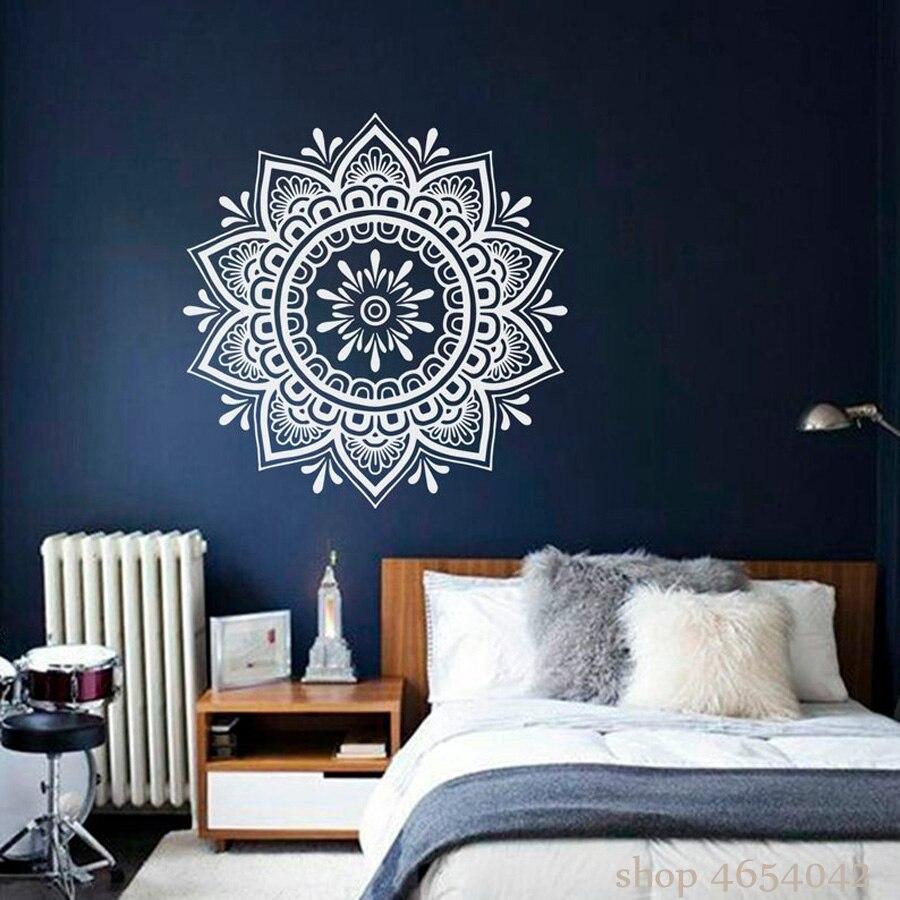 Mandala sticker Mural Boho Yoga Stickers muraux pour chambre fleur Art Mural bohème amovible maison salon décor N183