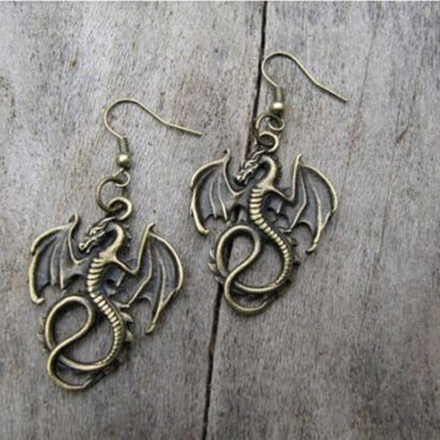 Women Beautiful Retro Silver Dragon Earrings Handmade Charm Gifts For Her