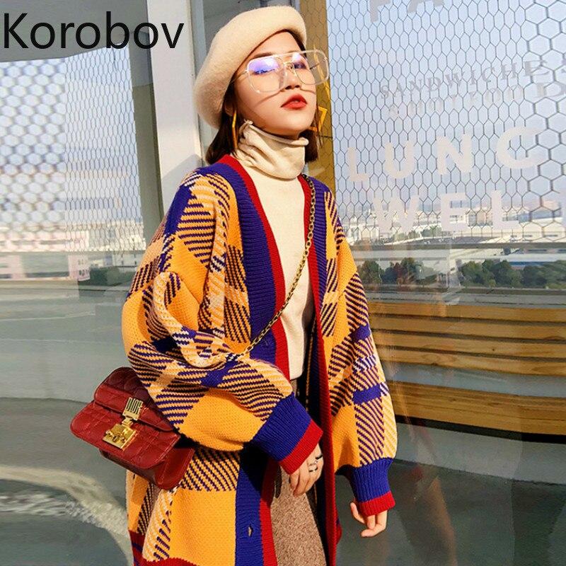 Korobov Korean Oversize Women Cardigan V Neck Long Sleeve Single Breasted Sweater Vintage Plaid Hit Color Patchwork Jumper 78261