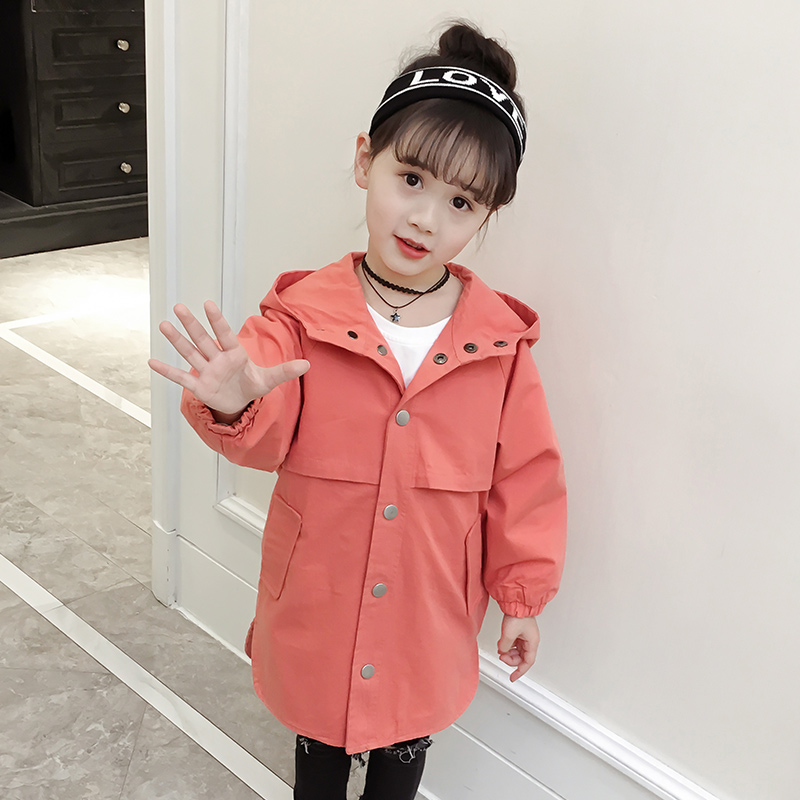 kids Girls   Trench   2019 New Autumn Casual Solid Hooded Long Coats Outerwear Windbreaker Jackets Tops Children Clothing Costume