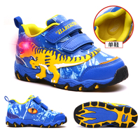 Dinoskulls Children's Shoes Spring Autumn 2019 Kids Sports Shoes Boy Light Up LED Shoes Kids Running Shoes Toddler Boys 27 34