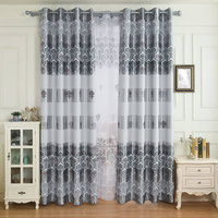 European Printing Luxury Blackout Curtain For Living Room Bedroom Silver Light With Special Flower Pattern For