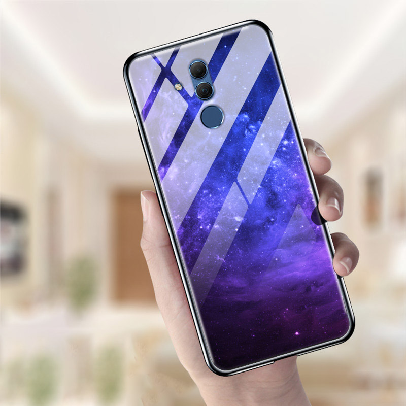 For Huawei Mate 20 Lite Case Tempered Glass Planet Space Cover Glass Back Case For Huawei Mate20 Lite Coque Shell Mate 20 Lite