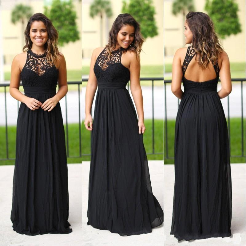 Elegant Robe demoiselle d'honneur Country Black Lace Bridesmaid Dresses A Line Sexy Back Maid Of Honor Gowns Party Dress