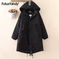 Striped Hooded Parka Women Winter Coats Casual Loose Warm Thick Long Parkas Plus Size 3XL 4XL Outerwear SWM1135