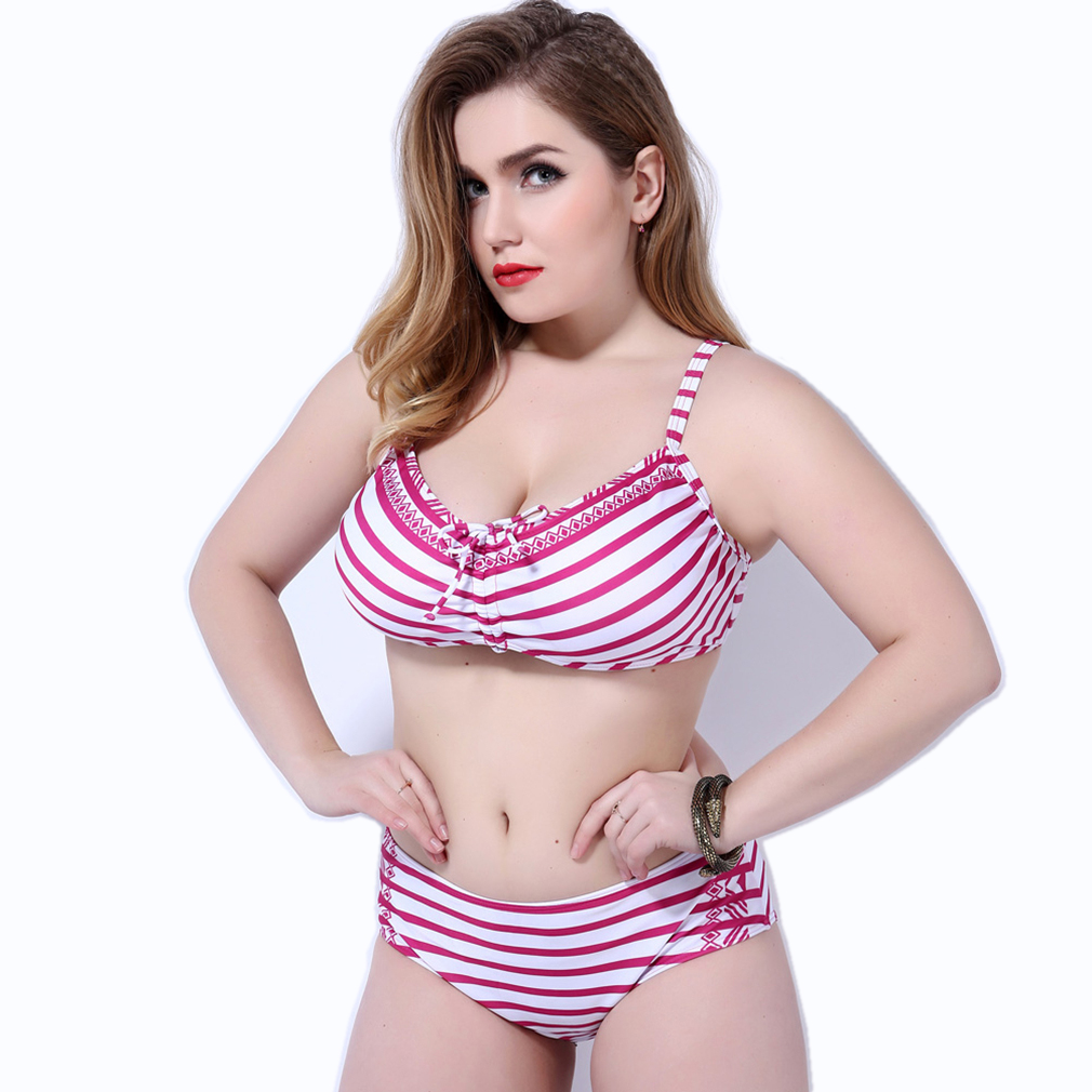 Red Bikini Plus Size Swimwear Striped Swimsuit With Ruffles Halter Neck Sexy Two Piece Set New Arrival 2017 Push Up Bathing Suit one piece swimsuit cheap sexy bathing suits may beach girls plus size swimwear 2017 new korean shiny lace halter badpakken