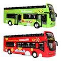 1:32 liga modelo de simulação de ônibus de turismo ônibus de dois andares de brinquedo musical luz puxar para trás do carro toys 3 cores