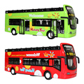 Happy Cherry Children Kids Musical Light Pull Back Cars Toys Red Green Tour Double Decker Bus Toy Gifts for Baby Boys Girls