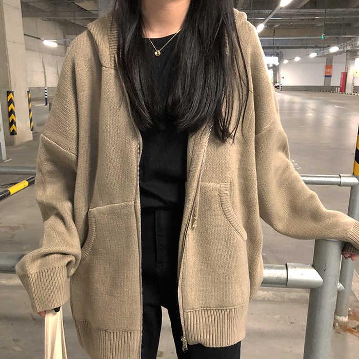 2e4b2760cb2 womens sweaters autumn 2019 winter tops harajuku korean fashion personality  retro pocket zipper knitted cardigan women